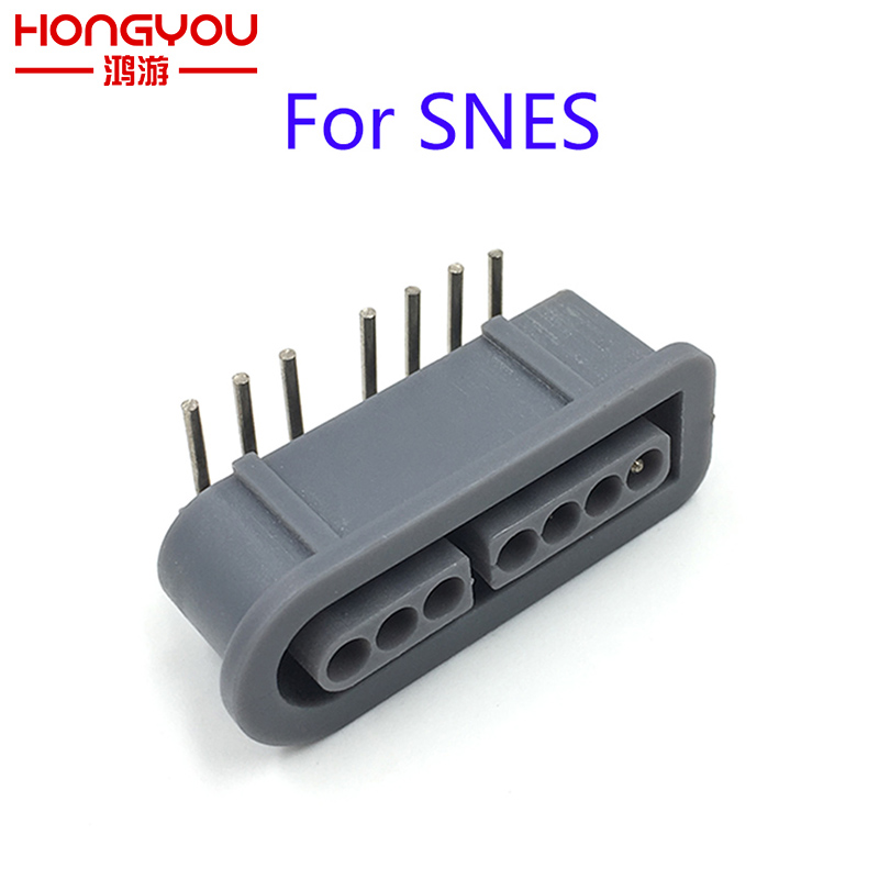 100Pcs Replacement 90 degree female 7 Pin connector part Socket Slot for Nintendo for SNES Game