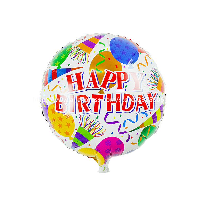 25pcs/lot The new 18-inch round Happy Birthday balloons holiday party decoration