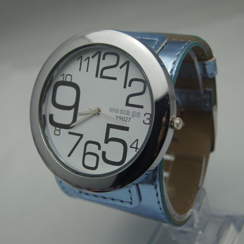 Высококачественные Женские брендовые модные большие часы 8 цветов с кожаным ремешком, военные кварцевые наручные часы с большим круглым циферблатом для женщин и мужчин - Цвет: Синий