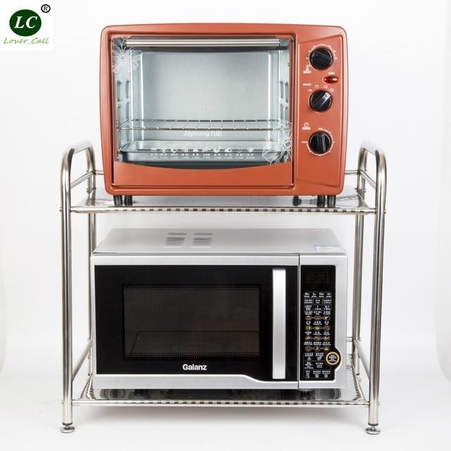 Kitchen Supplies Shelf 2 Layer Stainless Steel Microwave Storage Rack Oven