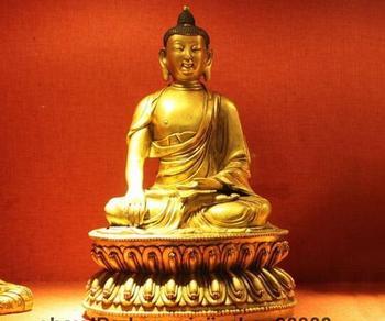 Templo tibetano roxo Bronze cobre 24 K Dourado Shakyamuni estátua de Buda Sit
