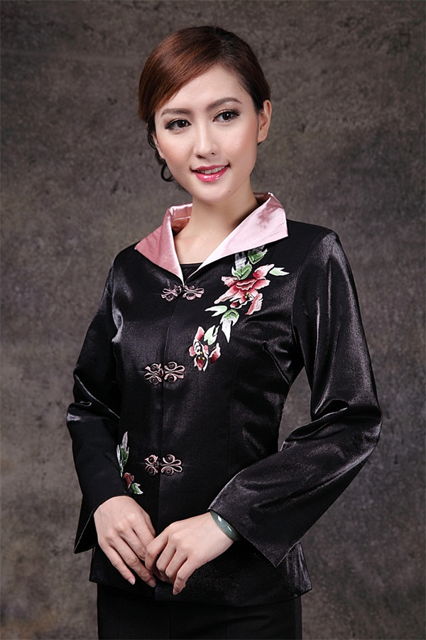 Hot Sale Black Chinese Women's Satin Jacket Classic Style V Neck Tang Suit Peony Embroidery Single Breasted Coat Size S TO 3XL