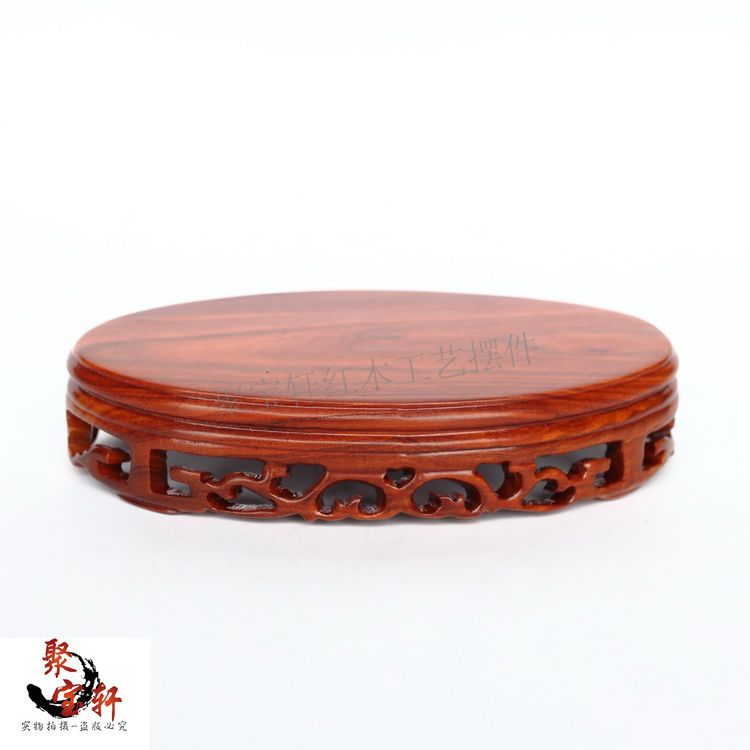 Red wood elliptical solid wood household act the role ofing is tasted vase of Buddha planter base handicraft furnishing articles