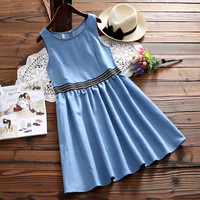 MISSFEBPLUM Mori Girl Denim Dress Women 2018 Sleeveless Summer Vintage Casual Loose Round Neck Vestidos Jeans
