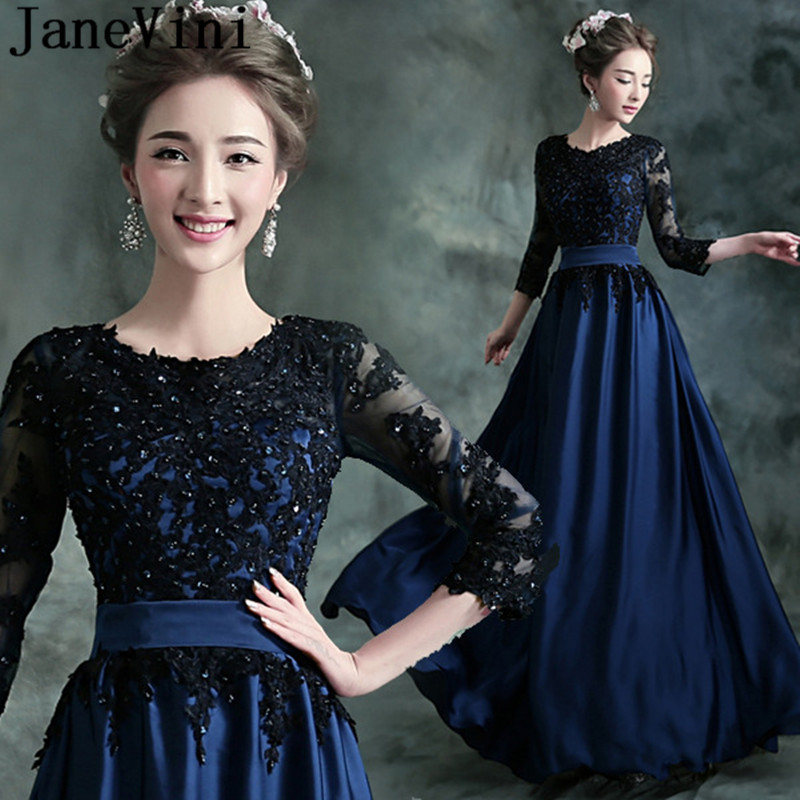 Obliging Janevini Cheap Deep Blue Evening Dresses With Black Lace 3/4 Sleeves Beaded Sequins Women Prom Gowns Formal Long Party Dress To Win A High Admiration Weddings & Events