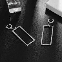 цена Hot Selling Girls Drop Dangle Earrings Hollow Square Zircon Decorative Brincos Ear Accessories Stylish Girls Drop Earrings в интернет-магазинах