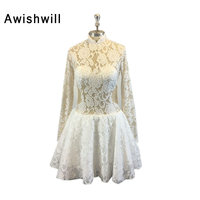 Vestido De Festa Curto Real Photo Sexy Sheer Back Lace White Party Dress Special Occassion Long Sleeve Short Mini Cocktail Dress