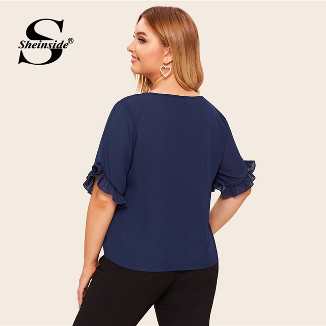 Sheinside Plus Size Navy Flounce Sleeve Chiffon Blouse Women 2019 Summer Short Sleeve Blouses Ladies Solid Minimalist Top 2