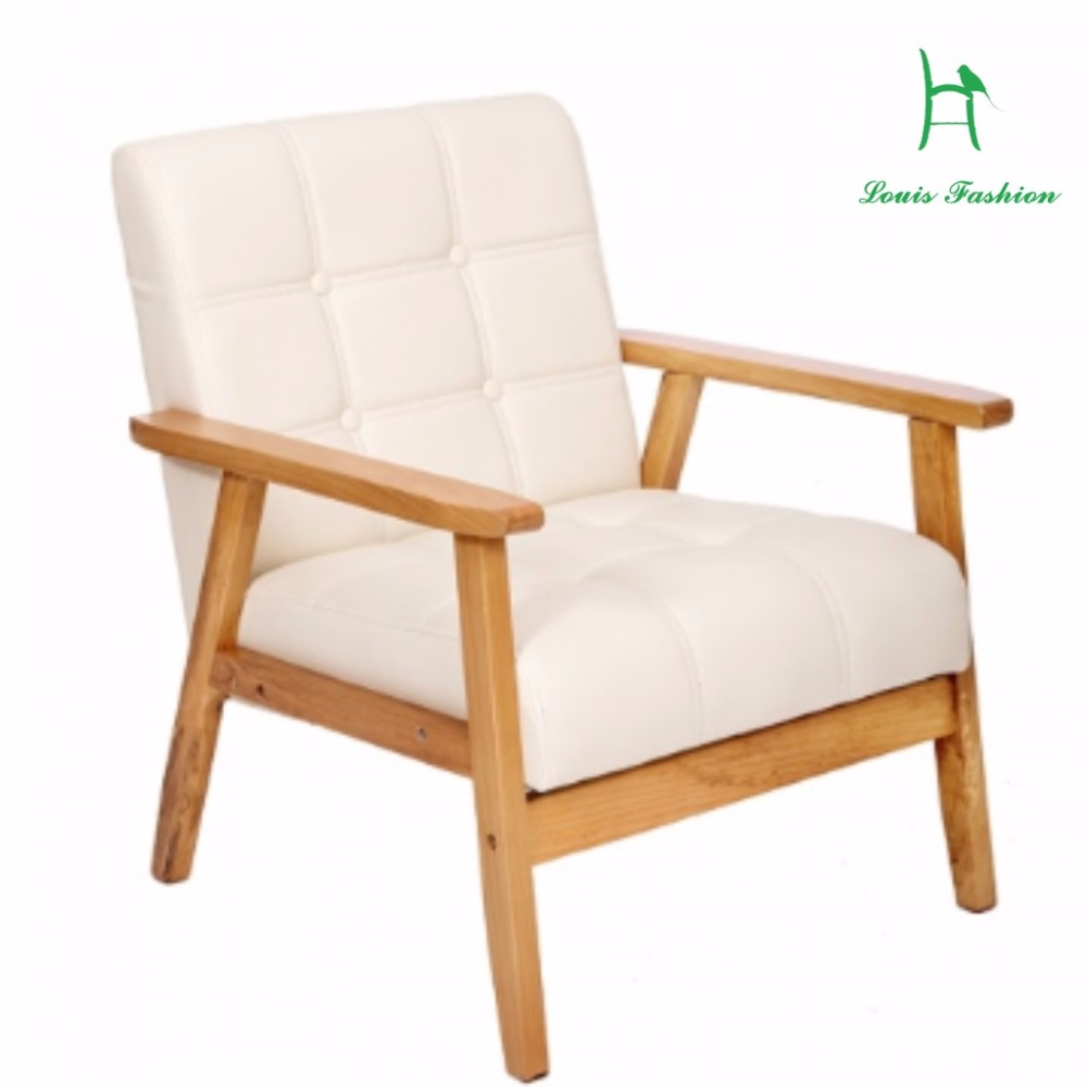 Modern wood chair with arms - New Style Leather Sofa Modern Simplism Style Solo Arm Chair Love Seat China Mainland