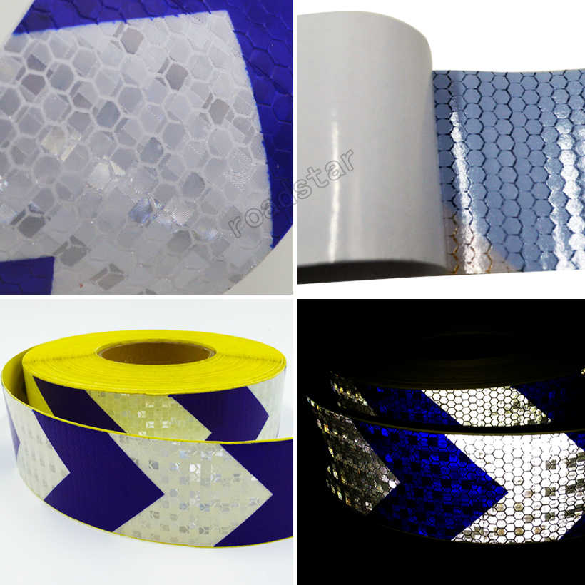 5cmx10m Arrow Safety Warning Conspicuity Reflective Roll Tape Marking Film Sticker for Road Construction Caution sticker