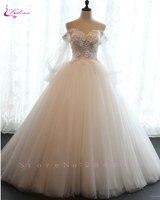 Waulizane Shiny Soft Organza Ball Gown Wedding Dress Appliques Beaded 3D Flowers Court Train Princess Bridal Gowns Hot Sale