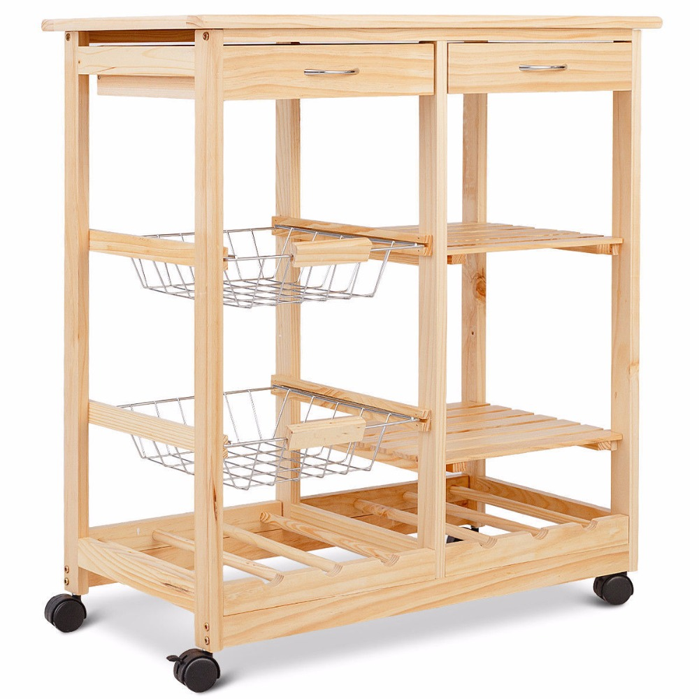 Goplus Rolling Wood Kitchen Trolley Cart Island Shelf w/ Storage Drawers Baskets New HW58491NA 6