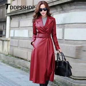 Image 3 - أسود وأحمر اللون طويل الربيع معطف جلد النساء سميكة طويلة الأكمام حزام الخصر جيب سترة الإناث
