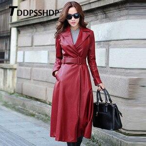 Image 3 - Chaqueta de cuero gruesa de manga larga para mujer, chaqueta femenina con bolsillos y correa en la cintura, Color negro y rojo