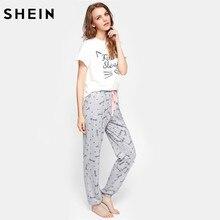 SHEIN Cat Pattern Print Round Neck Short Sleeve Top and Pants Pajama Set  Cute Summer Sleepwear ... 6fe503dcd