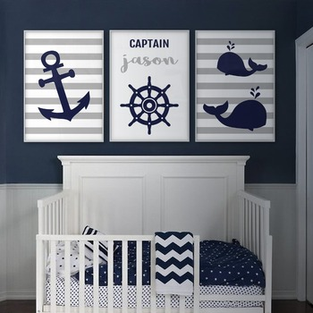 Anchor Whale Wall Art Nautical Nursery Decor Canvas Art Prints Navy Blue Gray Boy Name Personalized Children's Baby Room Poster