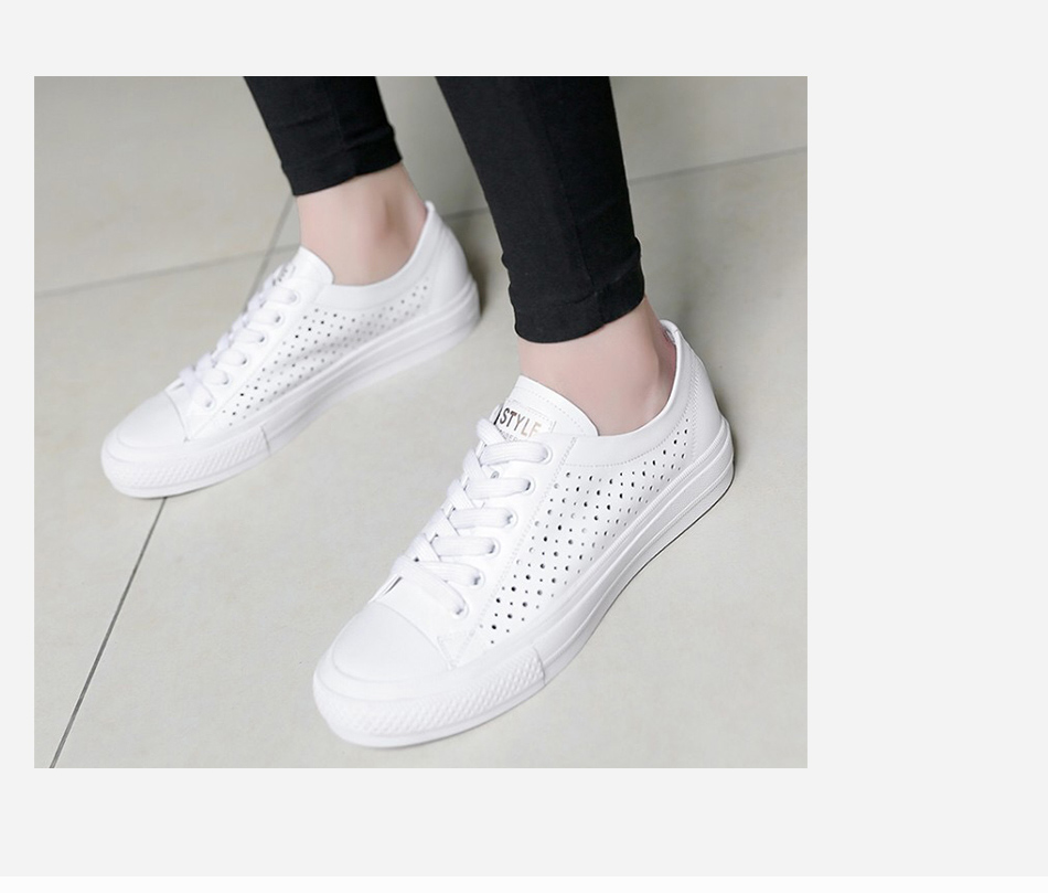 Donna-in 2019 New Women Flats Sneakers Genuine Leather Shoes Lace-up Cut-outs Flat Casual Women Shoes Hollow Summer Black White (6)