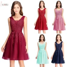 2019 Burgundy Navy Blue Pink Short Bridesmaid Dresses Applique Wedding Party Guest Gown vestido madrinha цены