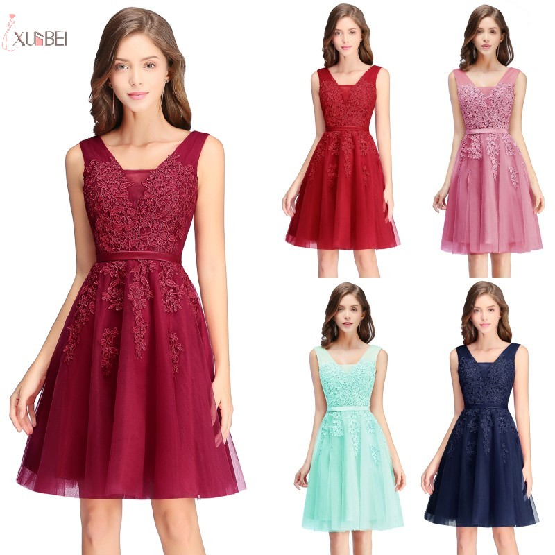 2019 Sexy Burgundy Navy Blue Pink Tulle   Bridesmaid     Dresses   Short Applique Wedding Party Guest   Dress   vestido madrinha