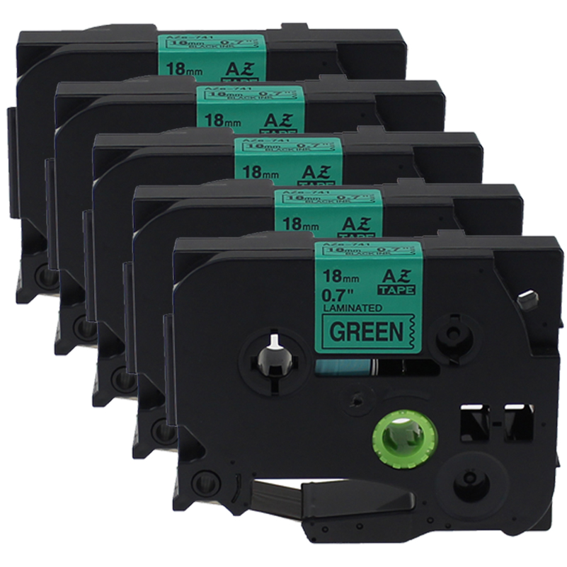 5PCS 18mm tze741 tze 741 tze-741 Compatible for Brother Laminated Label Ptouch Tapes ,Black on Green
