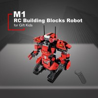 351pcs 4CH Remote Control DIY RC Building Blocks Robert Robot Toys Creative Bricks with 360'Rotate in Situ Toys for Kids Gift