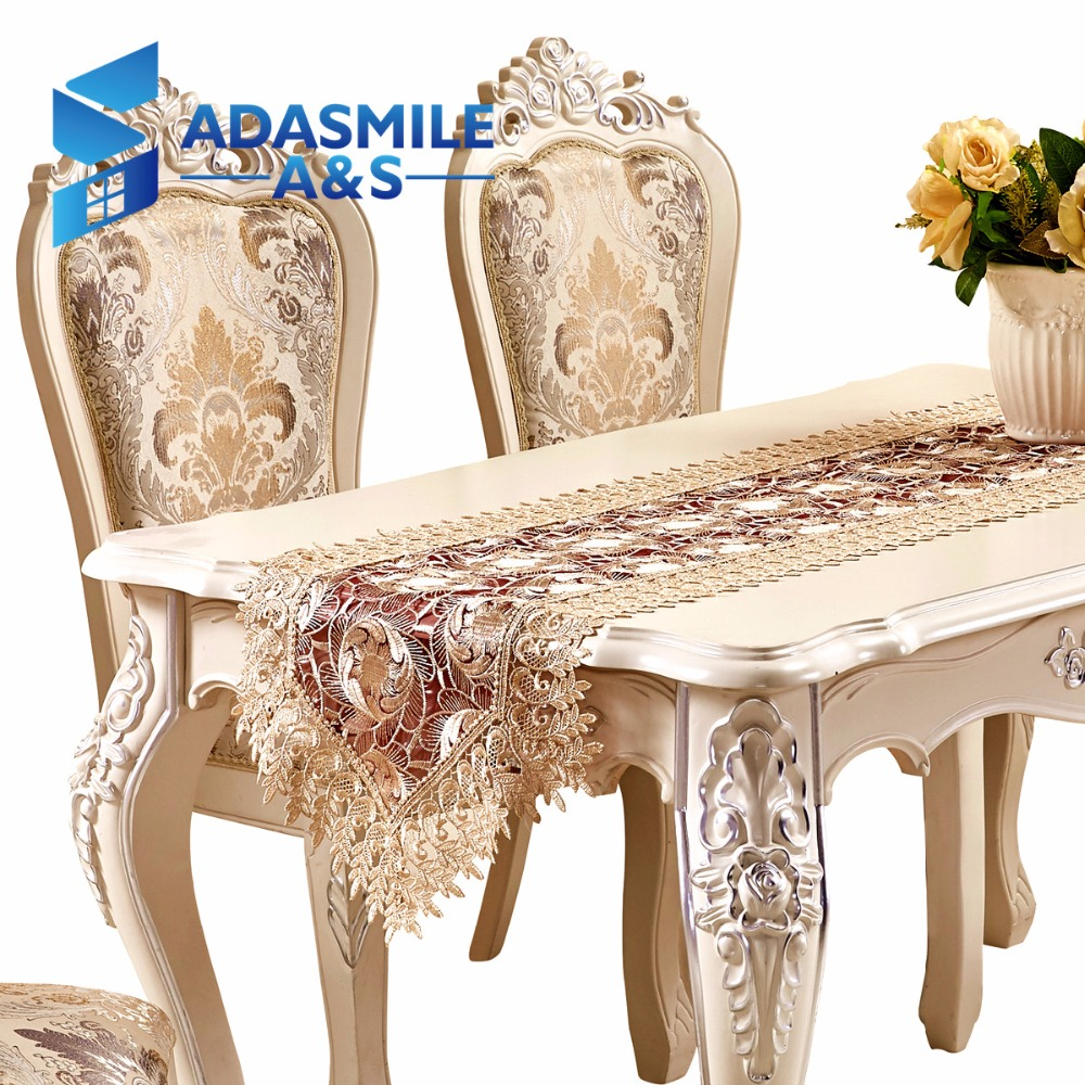 Hot Sale Lace Embroidered Floral Polyester Elegant Table Runner Dinning Table Flag Party Wedding Table Cloth