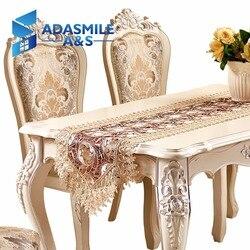 Venda quente laço bordado floral poliéster elegante mesa de jantar mesa bandeira festa casamento pano mesa