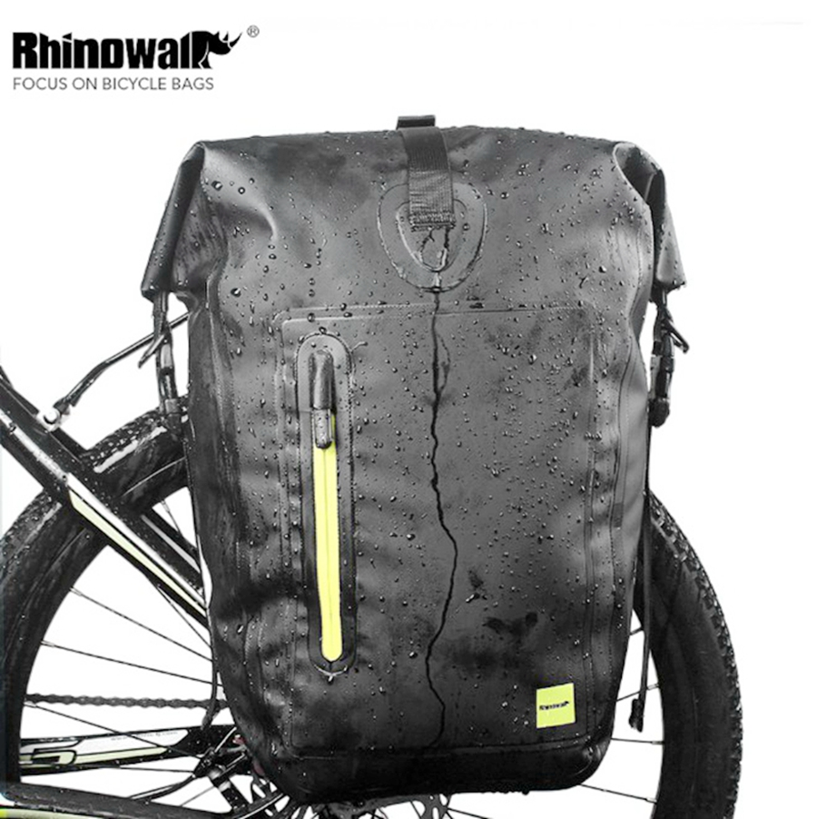 Waterproof Bicycle Bag 25L Portable Reflective Bike Bag Pannier Rear Rack Tail Seat Trunk Pack Cycling MTB Bag Bike Accessories coolchange reflective bike bicycle rear seat trunk bag cycling carrier bag rack panniers waterproof with rain cover page 2