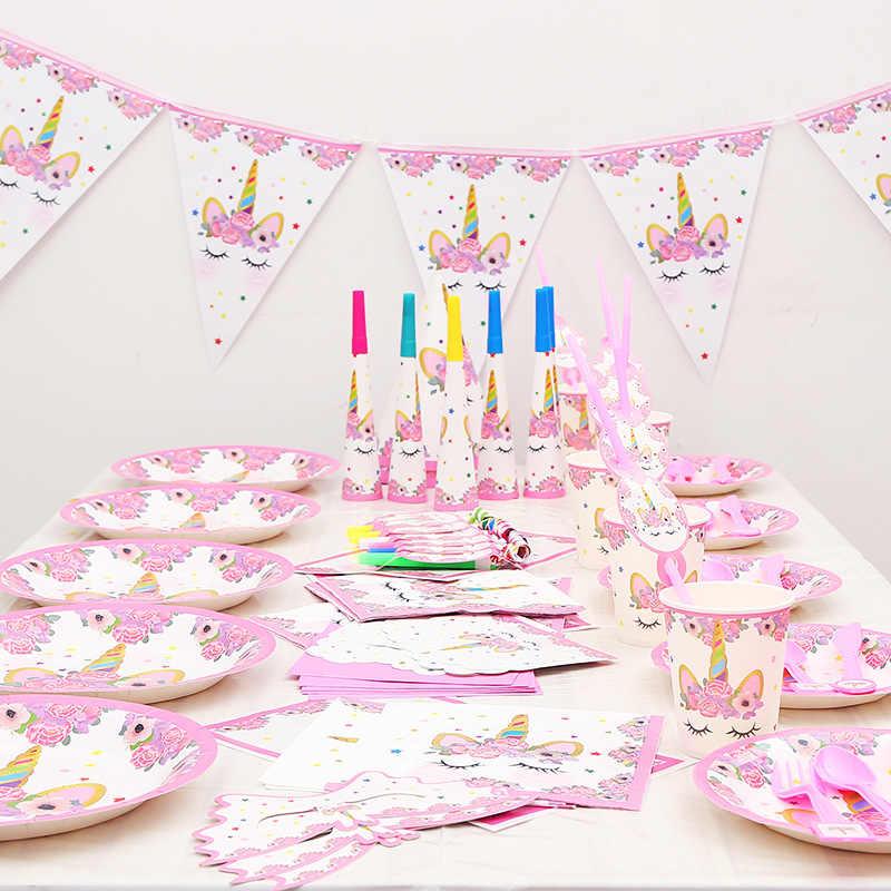 Розовый Единорог мультфильм животных Тема мальчик девочка вечеринка по случаю Дня Рождения, праздник бумажные стаканы для вечеринки бумажный лоток pull флаг Одноразовые Поставки