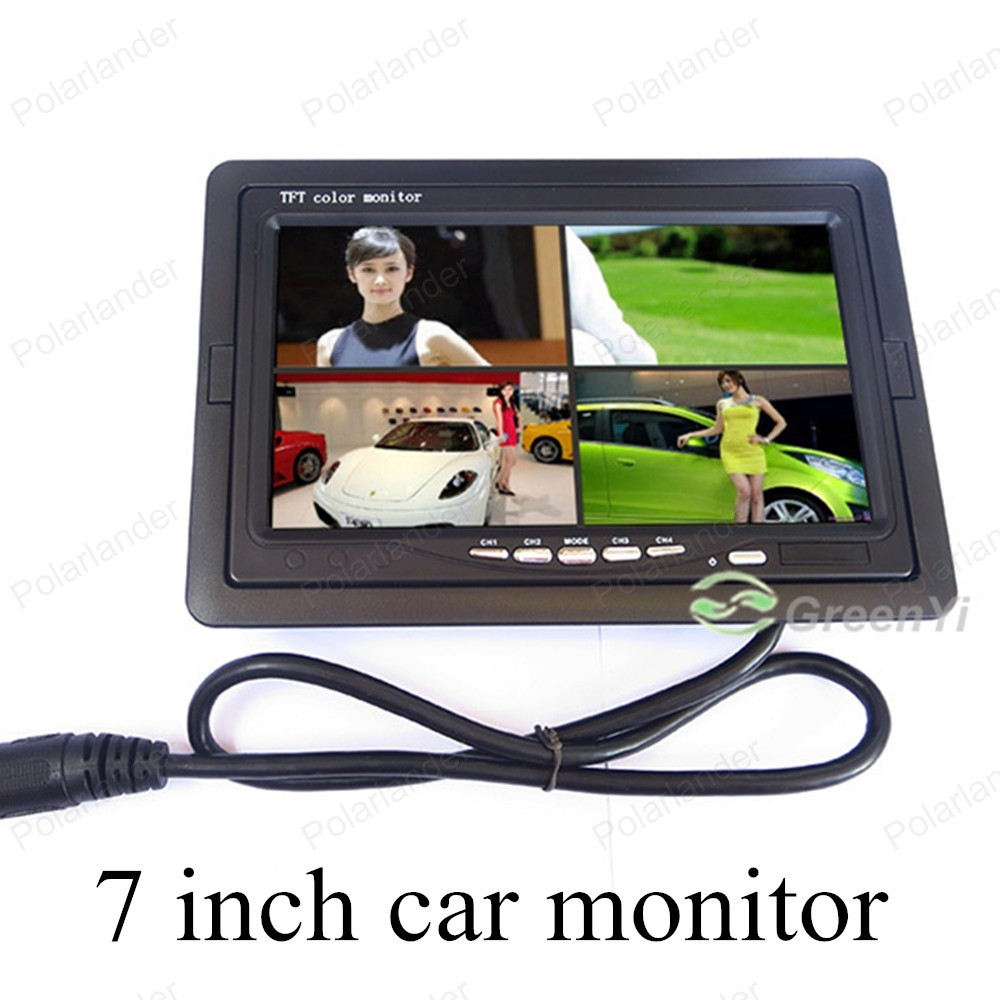 PolarLander 6 Mode Display 7 LCD 4CH Video input Car Video Monitor For Front Rear Side View Camera Quad Split Screen DC12V-24V