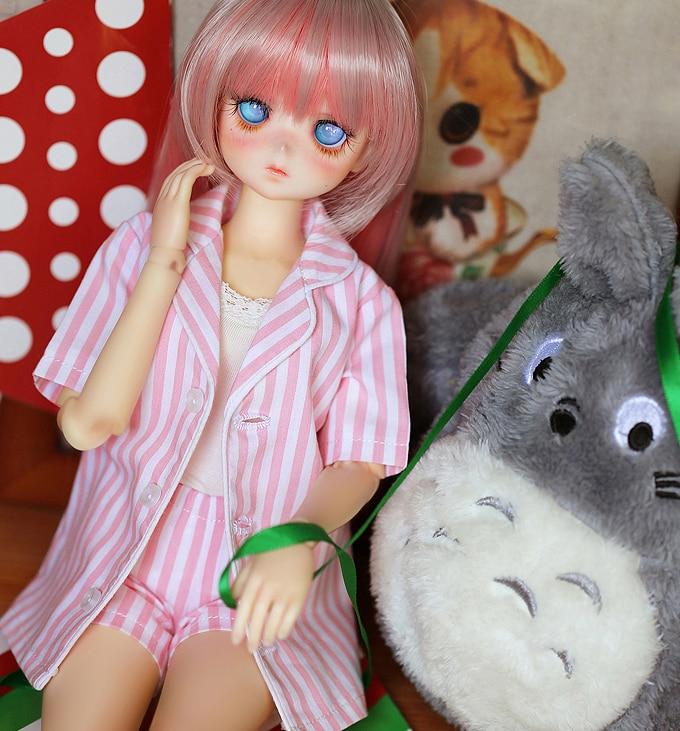 NEW BJD Doll Clothes 1 3 1 4 1 6 Salon clothe Striped Pajamas suit Pink