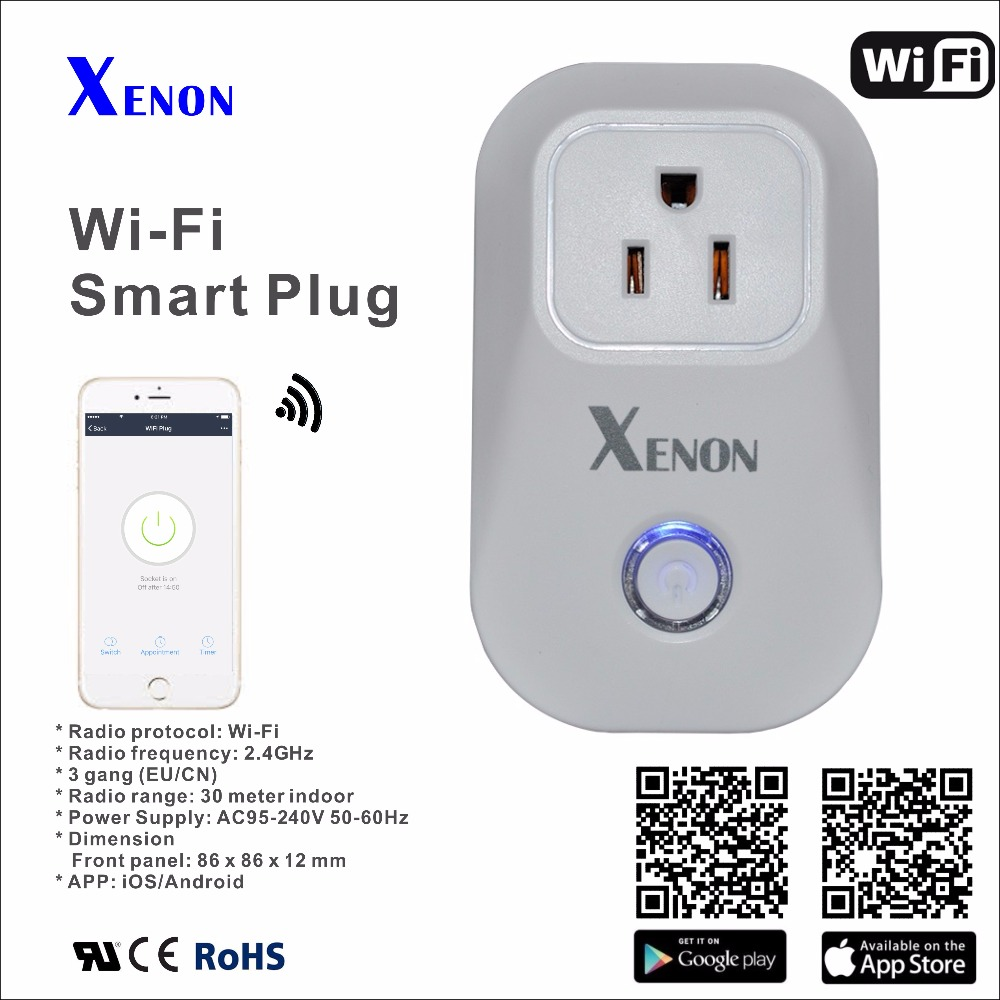 Works with Alexa and Google Assistant Smart home 10A+timer US wifi power socket plug outlet smart phone Wireless Controls