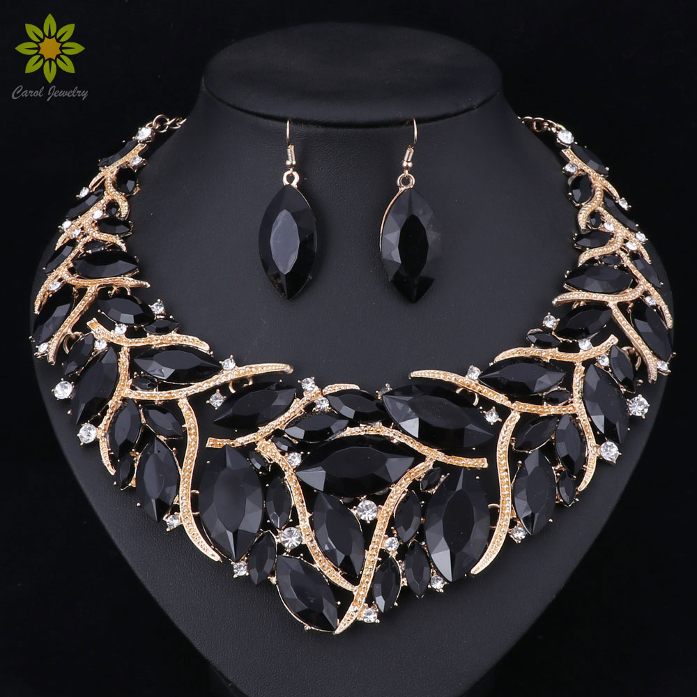 Fashion Bridal Jewelry Sets Wedding Necklace Earring Ring For Brides Party Prom Costume Accessories Decoration Women