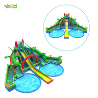 Giant Longer Inflatable Water Park Beach Slides with Double Pool for Sale