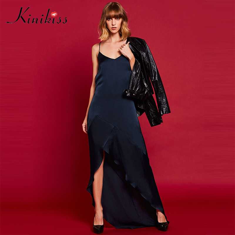 Kinikiss Women Sexy Maxi Dress Backless Spaghetti Strap Criss Cross Party Celebrity Ruffles Dress Satin Elegant V Neck Dress