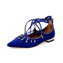 2017 Summer Brand New Large Size Women Flats Footwear Crystal Low Heel Casual Shoes Black Red Blue Female Shoes Pointed Toe