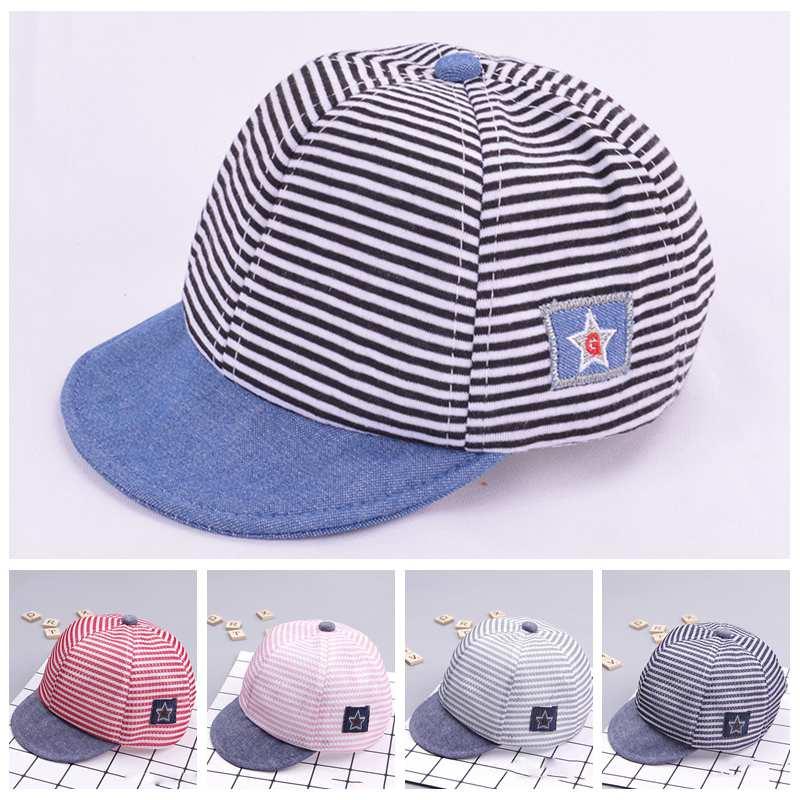 Весенне-летняя хлопковая детская шапка, милая Повседневная Мягкая шапка в полоску, детская бейсболка, берет для маленьких мальчиков и девоч...