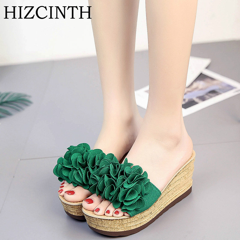 HIZCINTH Wedges Slippers 2018 New Summer Shoes Woman Flowers Platform Slippers Sexy Female High-heeled Sandals Flip Flops Slides phyanic 2017 gladiator sandals gold silver shoes woman summer platform wedges glitters creepers casual women shoes phy3323