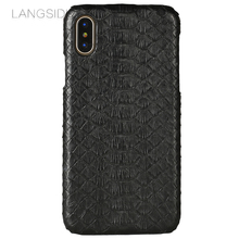 LANGSIDI mobile phone shell For iPhone 8 mobile phone case advanced custom natural python skin Leather Case