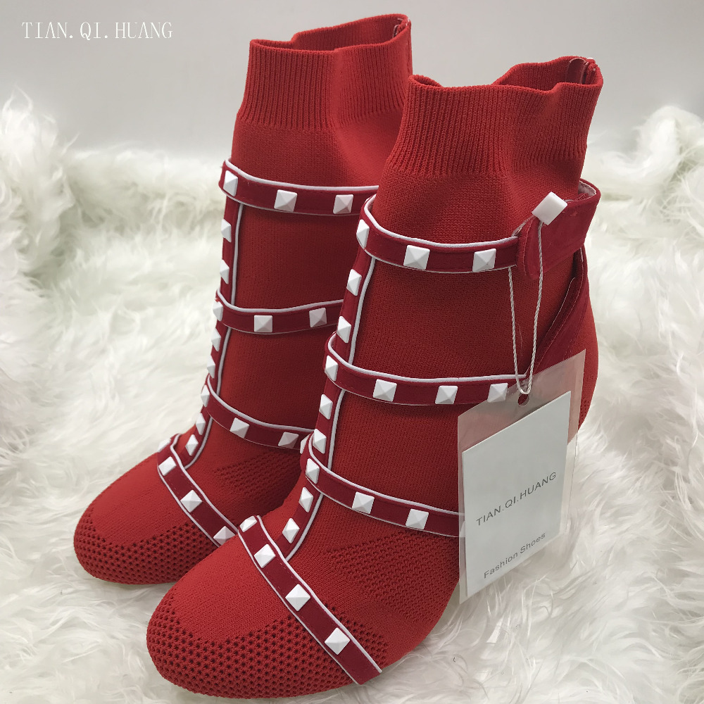 New Style Classic Fashion Design Woman Sexy Socks Shoes Short Female Knitting Fabric Boots Shoes High