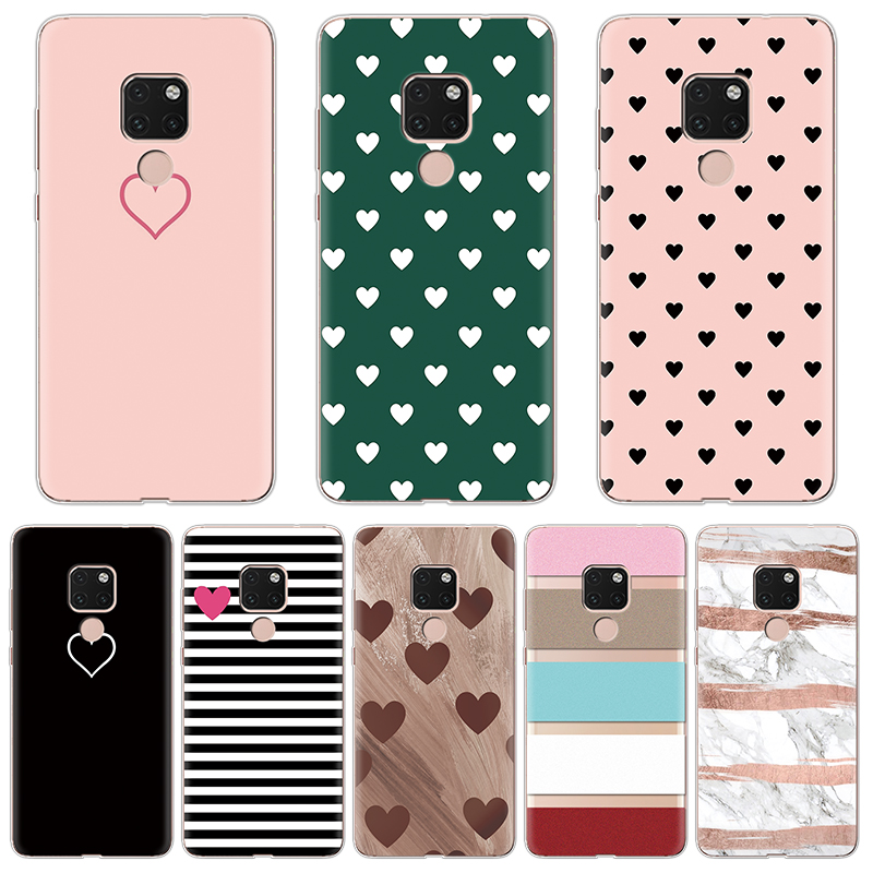 Cases for Coque Huawei Mate 20 Case Heart Lover Thin Pattern Soft Couple TPU Funda Full Protective Capa for 6.53 Inch Back Shell