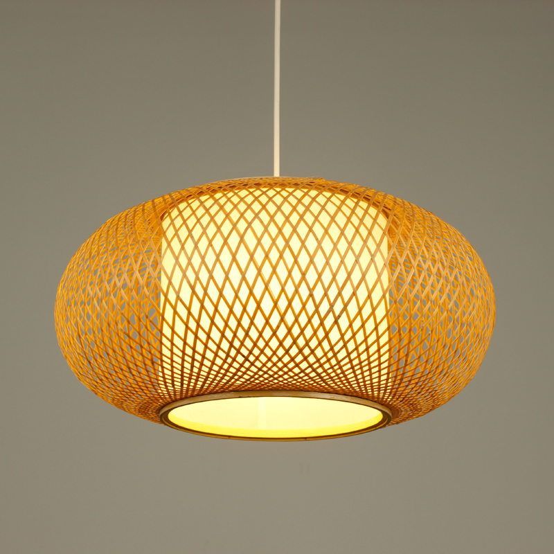 Modern Bamboo LED Round Pendant Lamp AC 90-260V Cord E27 Pendant Light Hand Knitted For Parlor Study Hotel Pendant Lamps G001