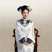 Qing Dynasty Princess Costume White Embroidery Theatrical Robe women elegant cheongsam dress TV Play performance wear