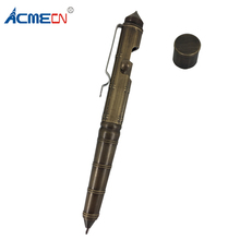 ACMECN 81g Solid Brass Tactical Pen Bamboo Pattern Retro Multi-functional BallPoint Emergency Self Defense Camping Tool