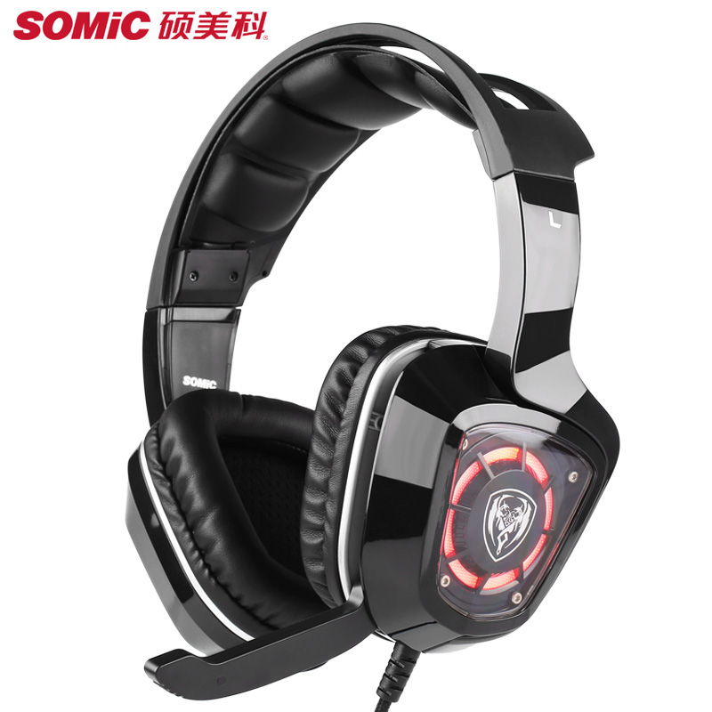 SOMiC G910i Gaming Headset 7.1 Surround Sound Vibration USB With Mic Bass Headphone LED light Big Earphones For Computer PS4 PC hifi head casque audio big wired gaming earphones for phone computer player headset and headphone with mic auricular pc kulakl k