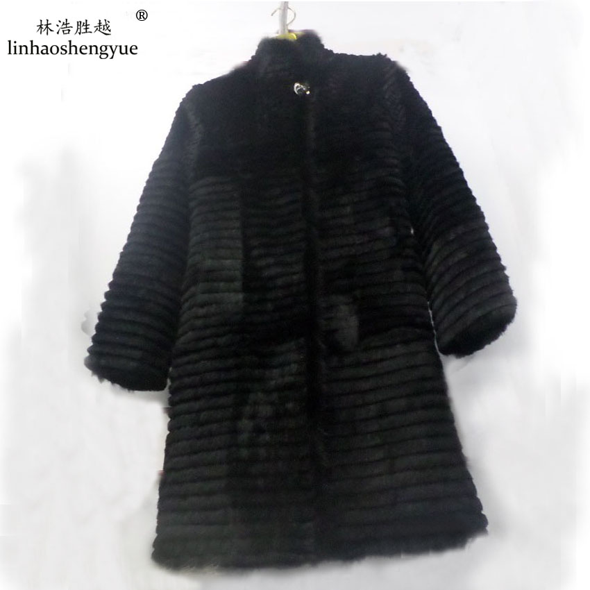 Linhaoshengyue 90cm long rabbit natural fur coat with 62cm sleeve length