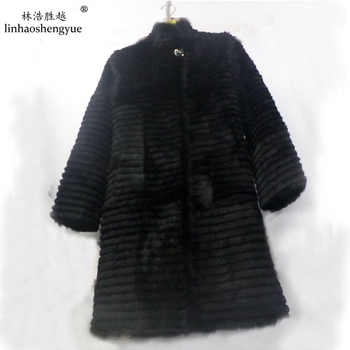 Linhaoshengyue 80cm long rabbit natural  fur coat with 62cm  sleeve length - DISCOUNT ITEM  18% OFF All Category
