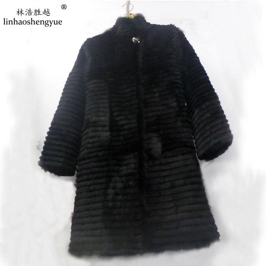 Linhaoshengyue 90 см длинный кролик натуральный мех пальто с 62 см Длина рукава