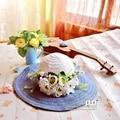 Gradiente flor paja garlandSummer Plegable Grande Ancho Beach Sun Sombrero de Paja de Ala Casquillo de la Playa Para Damas Elegantes Sombreros niñas