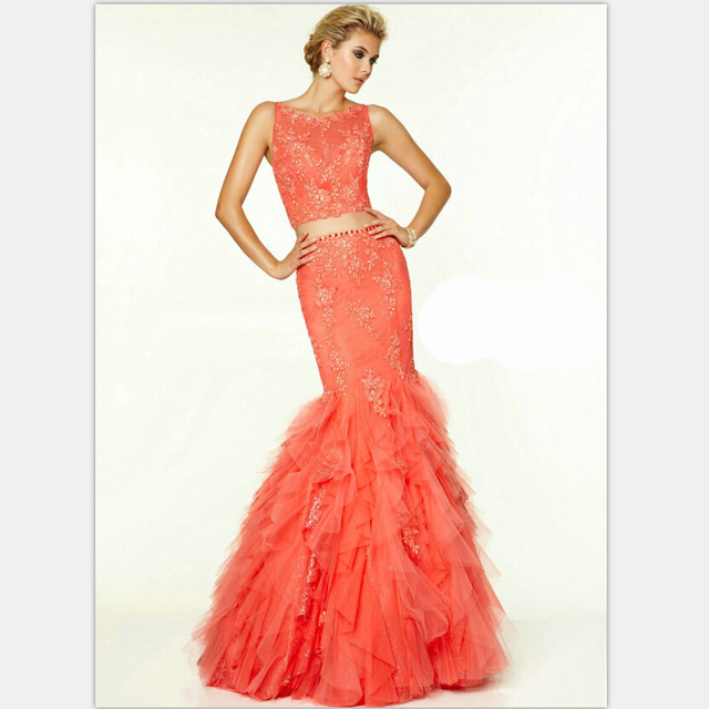 Coral Colored Prom Dresses 2015 Sleeveless Beautiful Mermaid ...